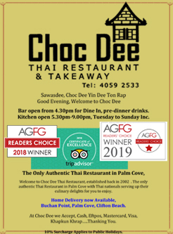 choc dee thai food menu