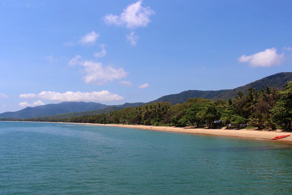Palm Cove main beach stretch from the pier