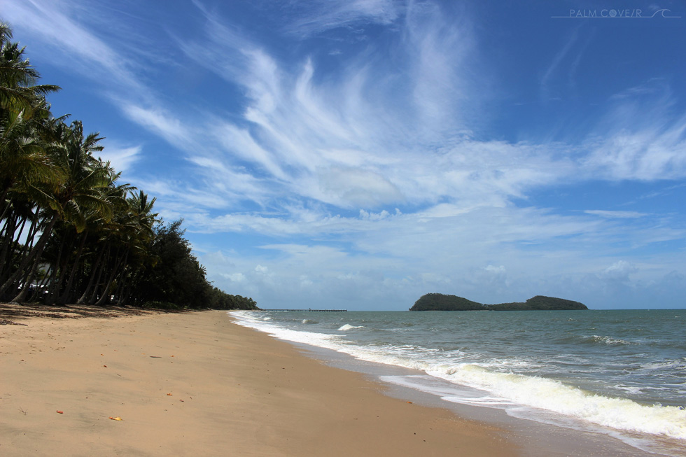 Palm Cove beach, palms, water, sky aspect and Double Island