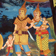 Traditional Thai wat painting